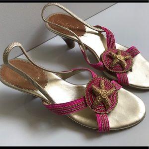 Eric Javits Gold Starfish Medallion Sandals
